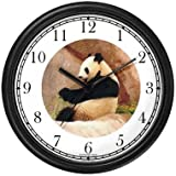 Photo Giant Panda or Panda Bear Animal Wall Clock by WatchBuddy Timepieces (Hunter Green Frame)