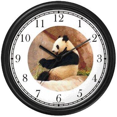 Photo Giant Panda or Panda Bear Animal Wall Clock by WatchBuddy Timepieces (Hunter Green - Panda Frame Picture