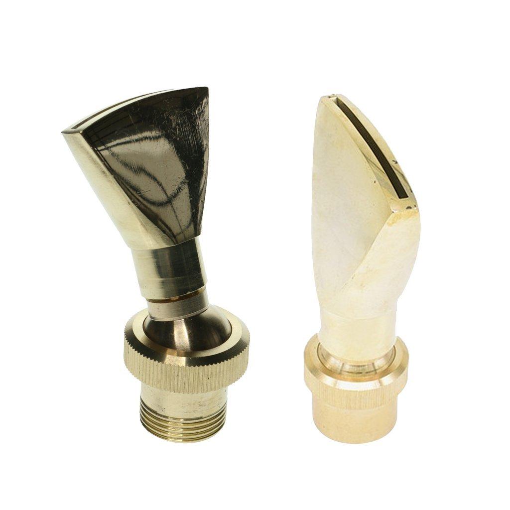 MagiDeal 2Pcs Brass Fan Shape Fountain Nozzle Spring Sprinkler Spray Head Pond Garden