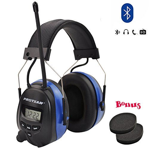 Bluetooth & Radio AM/FM Hearing Protection Safety Earmuffs, Noise Reduction NRR 25dB Headphones with Digital Display-Ear Protector for Mowing Lawn, with Replacement ()