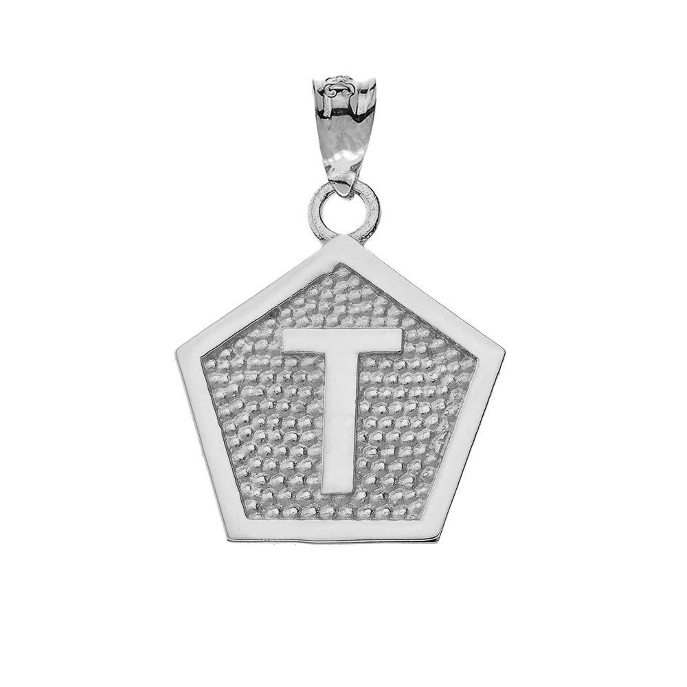 LA BLINGZ 10K White Gold Letter T Initial Pentagon Pendant Necklace