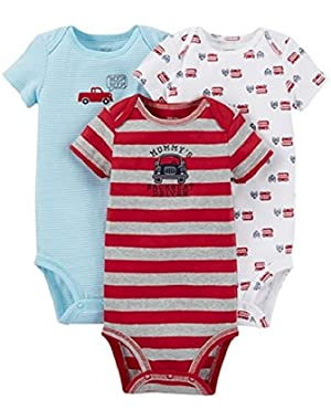 Carter's Just One You Baby Boys' 3-Piece Bodysuit Set Fire Trucks - Red