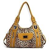 Handbag Hobo Women Handbag Roomy Multiple Pockets Street ladies' Shoulder Bag Fashion PU Tote Satchel Bag for Women (AK812-2Z Yellow Leopard)