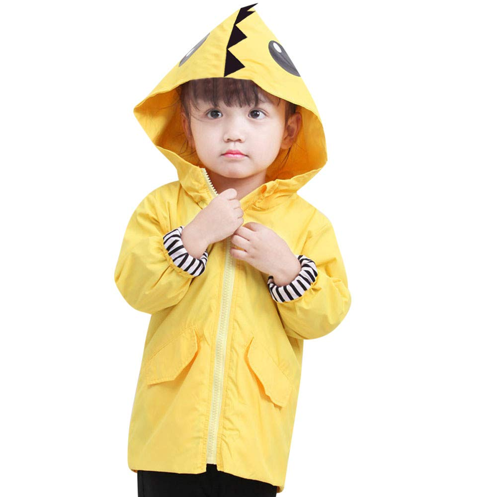 Muium Toddler Infant Baby Hooded Raincoat, Kids Boys Girls Yellow Cartoon Dinosaur Trench Coat Long Sleeve Hoodies Waterproof Jacket Outfits