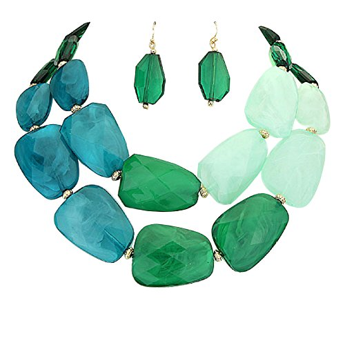 (Rosemarie Collections Women's Ombre Polished Resin Statement Necklace Earring Set (Green))