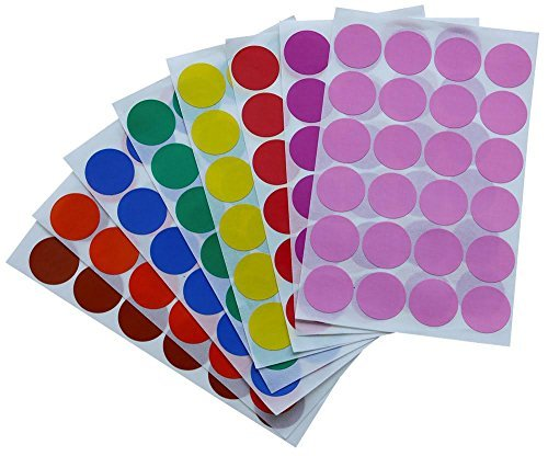 Dot Sticker 1 inch 25 mm Color Labels in Green, Yellow, Pink, Purple, Orange, Brown, Blue and Red dots Sticker - 768 Pack by Royal Green