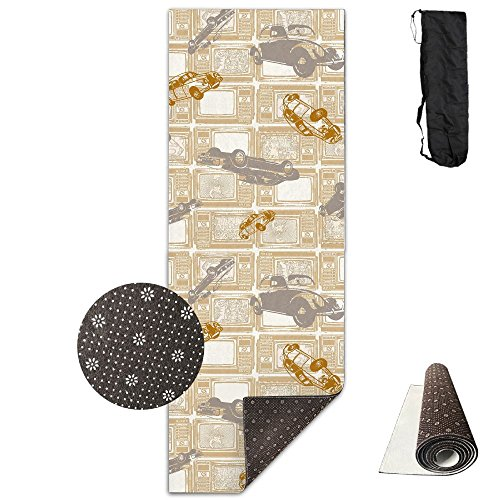 Gorgeously Non Slip Yoga Mat Car Pattern Premium Printed 24 X 71 Inches Great For Exercise Pilates Gymnastics Carrying Strap - Flip Flops Car Mats
