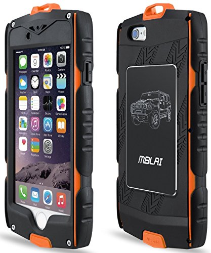 iPhone 6s Case, JIUSHIWO [MBLAI Series] Outdoor Heavy Duty Anti-Collision [ShockProof] [Built-in Screen Protector] Slim Shell With [Climbing Hiking Cycling Hook] for Apple 4.7 inch-Orange ()