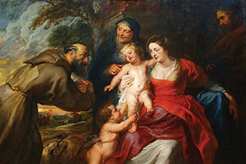 Buyenlarge The Holy Family with Saints Francis & Infant St. John The Baptist - Gallery Wrapped 28''X42'' canvas Print., 28'' X 42'''' by Buyenlarge