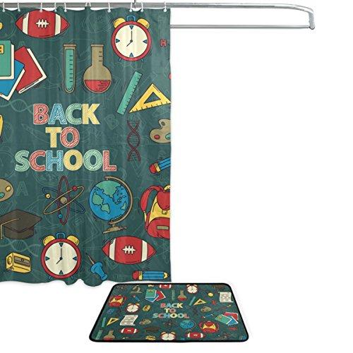 Cooper girl Back To School Item Waterproof Shower Curtain and Doormat Bath Floor Mat Sets by ALAZA (Image #1)