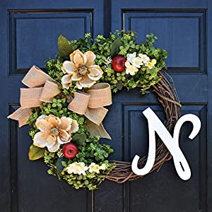 Personalized Boxwood, Apple & Magnolia Wreath with Monogram Initial and Burlap Bow for Summer Fall Front Door Decor 120