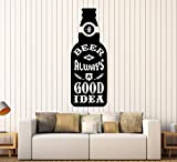 beer wall vinyl - Large Vinyl Wall Decal Beer Bottle Quote Bar Alcohol Lounge Pub Stickers Large Decor (ig4436) Black