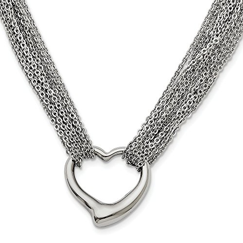 Strand Heart Toggle - FB Jewels Solid Stainless Steel Multi Strand Polished Heart Toggle Necklace