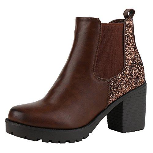 napoli-fashion Damen Stiefeletten Chelsea Boots Blockabsatz Profilsohle Schuhe Jennika Braun Brown