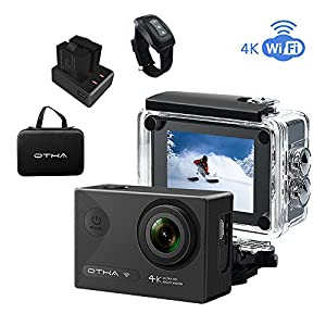 4K Action Camera-OTHA Underwater Camera for Snorkeling-170°Angle 16MP Wifi Night Vision Sports DV Camcorder Waterproof-2 Rechargeable Batteries/Charger/Remote Control-Great for Sports or Drone