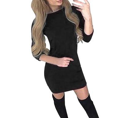 ... Mujer Amlaiworld Moda Mini Vestido Sexy de Manga Larga O-Cuello Sexy para Mujer Suéter Camisetas Elegante de cóctel Falda: Amazon.es: Ropa y accesorios