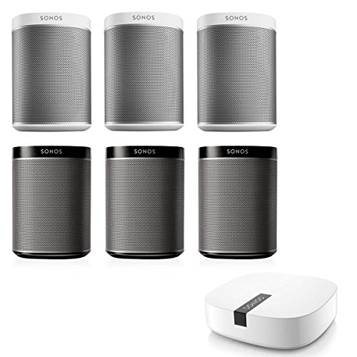 Sonos PLAY:1 Multi-Room Digital Music System Package (Black/White) with BOOST Enterprise-Grade Wireless Adapter (White)