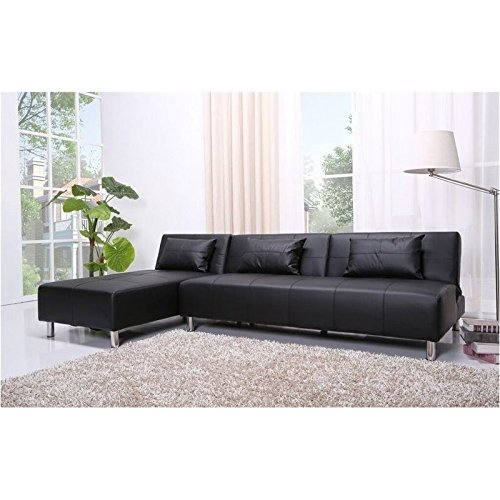 Brika Home Faux Leather Convertible Sofa in Black