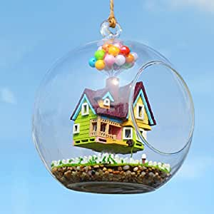 BEAUTY'S CASTLE DIY Glass Ball Series Wooden Dollhouse LED Lights Miniature Assembly Furniture Kit 3D Puzzle Crafts Toy And Wooden Frame For Creative Kid Birthday Gifts (Flying House Romance)