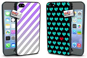 Stripes Purple Gray Teal Hearts Pattern COMBO TWO PACK for iPhone 4 or 4s