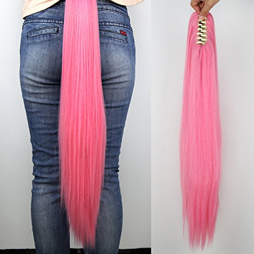 Miss U Hair Long Straight Pink Cosplay Wig Claw Ponytail for Kids and Adult (Pink) -