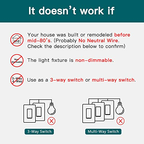 Smart Dimmer Switch, Single-Pole Smart Switch for Dimmable Bulbs, Treatlife 2.4GHz WiFi Smart Light Switch Works with Alexa and Google Home, Remote Control, Neutral Wire Required