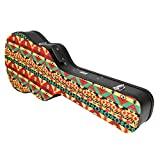 3/4 Size Acoustic Guitar Case?Hard Durable Wood Shell with Carrying Handle, Padded Inside with Plush Foam, Key-Locking Center Latch, Rasta by Phitz