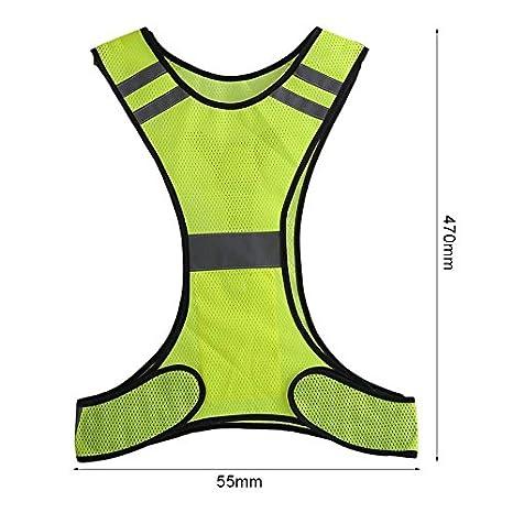 Fishyu Unisex LED Reflective Safety Vest Belt Luminous Thin Breathable Harness Outdoor Night Running Cycling Waistcoat Giallo