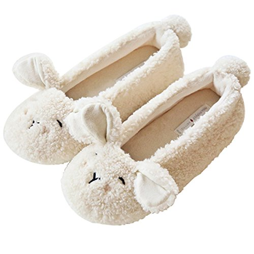 HALLUCI Women's Cozy Fleece Memory Foam House Trick Treat Halloween Slippers (5-6 M US, The Lamb)