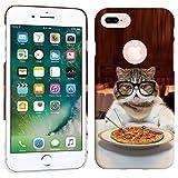 iPhone 7 Plus Case / iPhone 8 Plus Case - Pepperoni Pizza Cat Hard Plastic Back Cover. Slim Profile Cute Printed Designer Snap on Case by Glisten