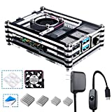 Smraza Case for Raspberry Pi 4 B, Case with Cooling Fan, 4PCS Heatsinks, 5V 3A USB-C Power Supply for Raspberry Pi 4 Model B (RPI 4 Board Not Included) - Black and Clear