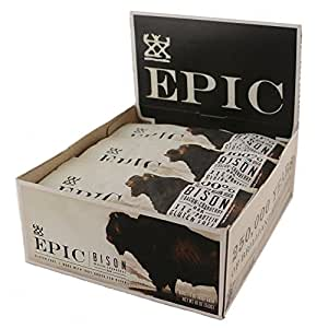 Epic All Natural Meat Bar, 100% Grass Fed, Bison, Bacon and Cranberry, 1.5 ounce bar, (Pack of 12)