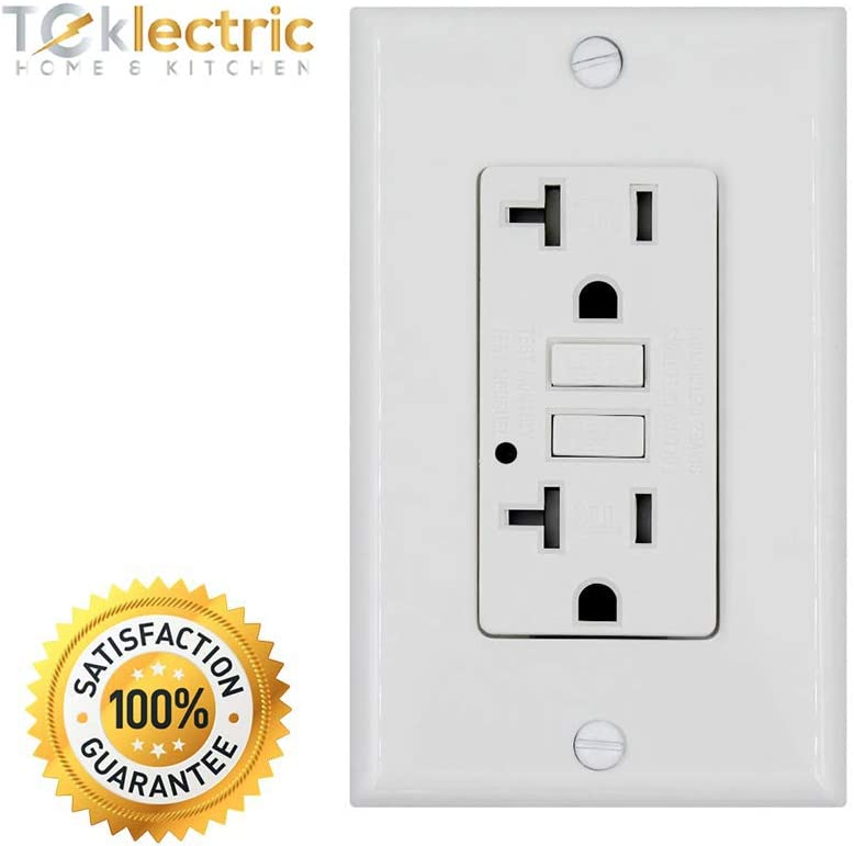 GFCI Outlet 20 AMP 125 VOLT Grounded TEKLECTRIC GFCI Receptacle 20A 125V Tamper Resistant 10 Pack Wall Plate Wall Plate and Screws Included WHITE