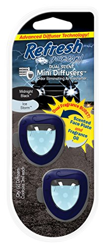 Refresh Your Car! 09877 Dual Scent Mini Diffusers, Midnight Black/Ice Storm Scent - Car Dual Scent