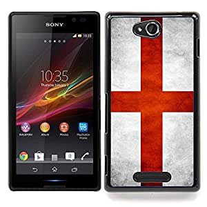"Qstar Arte & diseño plástico duro Fundas Cover Cubre Hard Case Cover para Sony Xperia C (Bandera nacional de la Serie-Inglaterra"")"