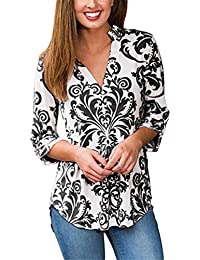 WEONEDREAM Floral Print Pattern Shirts Cuffed Sleeves V...
