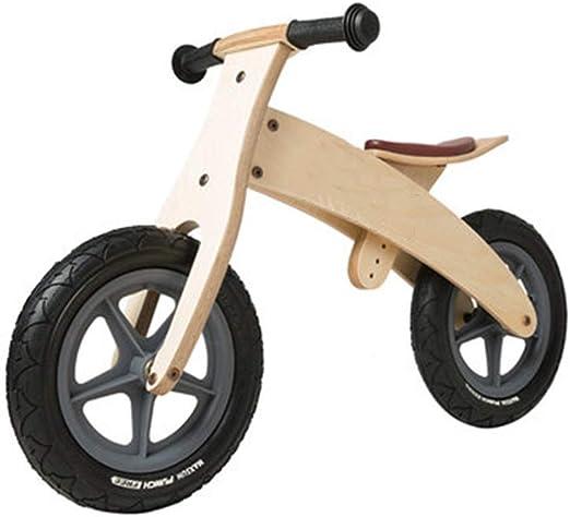 Bicicleta sin pedales Bici Bicicleta de Equilibrio de Madera Negra para niño/niña, Bicicletas de Empuje con neumático de Goma y Asiento Ajustable (Color : Wooden Color): Amazon.es: Hogar