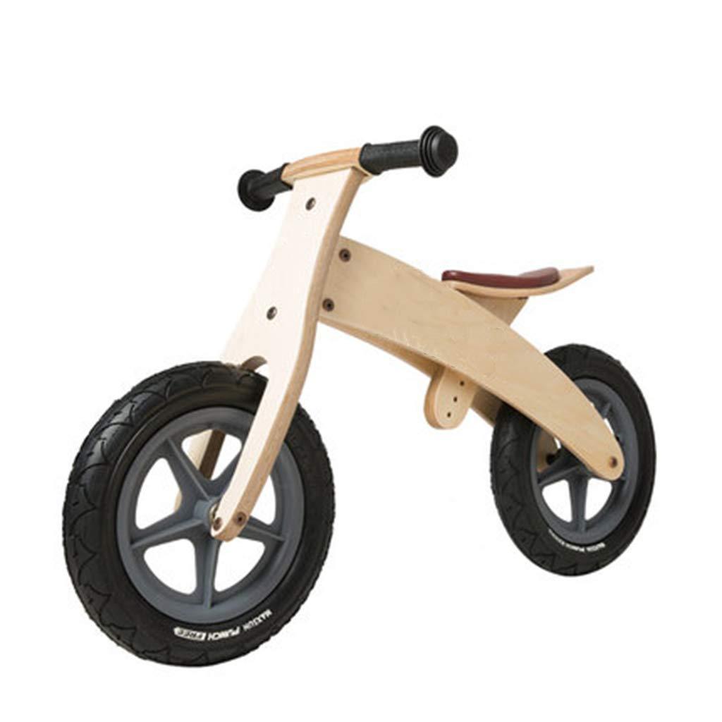 Laufräder Hölzernes schwarzes Balance-Fahrrad für Jungen Mädchen, Push Bikes mit Gummireifen und verstellbarem Sitz (Farbe   Wooden Farbe)