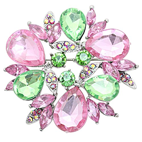 (Rosemarie Collections Women's Rhinestone Flower Round Statement Brooch Pin (Pink and Green))