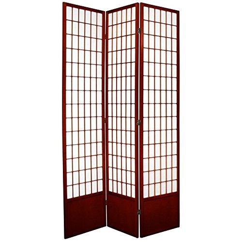 Oriental Furniture 7 ft. Tall Window Pane Shoji Screen - Rosewood - 3 Panels - Room Discount Furniture