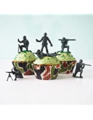 24 Green Toy Soldiers Cupcake Topper Kit - Army Soldiers, Camo Baking Cups, Green Sugar Sprinkles