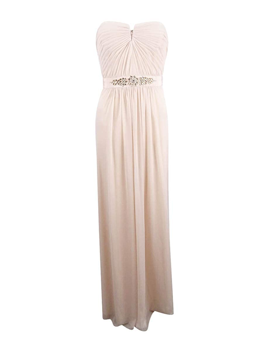 Almond Adrianna Papell Womens Strapless Jeweled Formal Dress