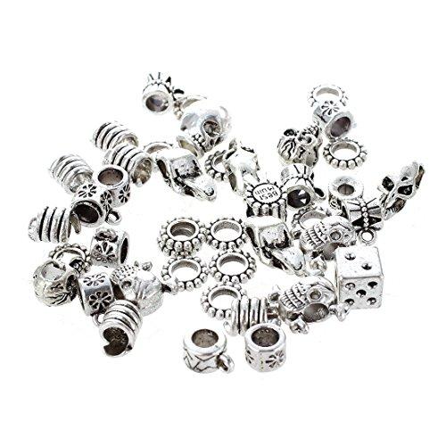 SODIAL(R) 40X Tibetaine alliage d'argent Perles modeles mixtes