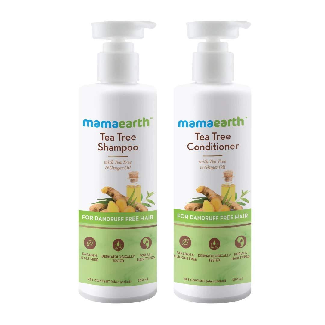 Mamaearth Tea Tree Anti Dandruff Hair Kit Tea Tree Shampoo, 250ml + Tea Tree Conditioner, 250ml