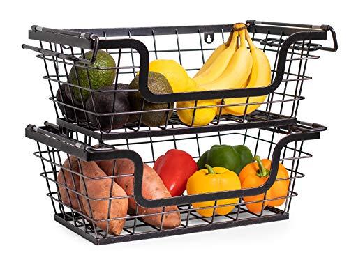 BirdRock Home Wire Basket for Storage - Set of 2 Baskets - Stackable - Hanging - Wall Shelf - Fruit Vegetable Organization - Pantry Cabinet - Metal Bin for Kitchen Counter - Bathroom Storage (Organization Metal Home Baskets Storage)