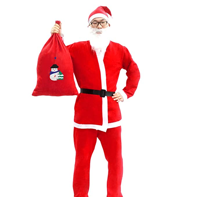 Traje de Santa,Vococal® Disfraces de Santa Uomo Xmas Manica Lunga Fantasia Abbigliamento Costume