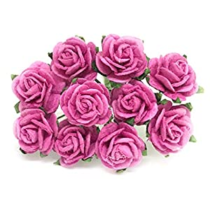 """1/2"""" Pink Paper Roses, Mulberry Paper Flowers, Pink Paper Flowers, Miniature Flowers, Mulberry Paper Rose, Paper Rose Flower, Wedding Favor Decor, Mini Pink Roses, 50 Pieces 38"""