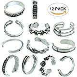 12Pcs Sc0nni Women Fashion Simple Retro Toe Ring Adjustable Foot Beach Jewelry