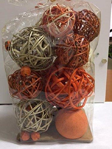 Jodhpuri Inc Decorative Spheres Dark Orange Rattan Vase Filler Assorted Natural Woven Twig