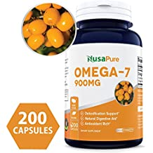 Best Purified Omega 7 Fatty Acids 900mg 200 Capsules (NON-GMO & Gluten Free) Natural Sea Buckthorn Oil, No Fish Burp, Omega-7 Palmitoleic Acid, Omega 3 6 9 Weight Loss - 100% Money Back Guarantee